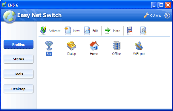 Easy Net Switch profile list