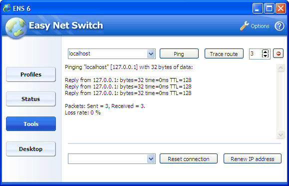 Easy Net Switch Ping localhost
